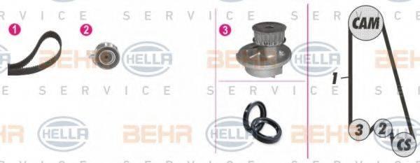 BEHR HELLA SERVICE 8MP376800801 Водяной насос + комплект зубчатого ремня
