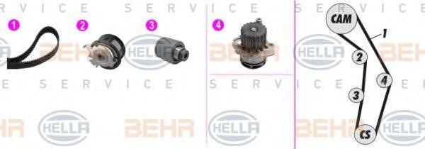 BEHR HELLA SERVICE 8MP376802861 Водяной насос + комплект зубчатого ремня