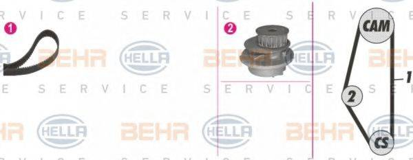 BEHR HELLA SERVICE 8MP376804831 Водяной насос + комплект зубчатого ремня