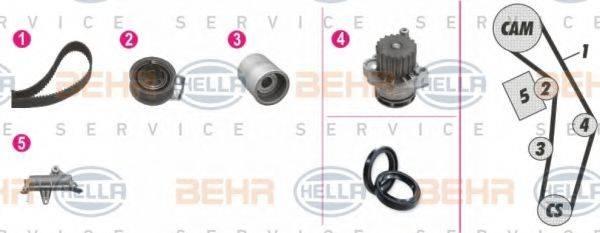 BEHR HELLA SERVICE 8MP376809871 Водяной насос + комплект зубчатого ремня