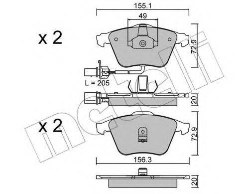 METELLI 2205490 Комплект тормозных колодок, дисковый тормоз