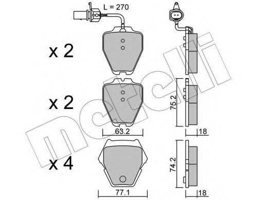 METELLI 2207741 Комплект тормозных колодок, дисковый тормоз