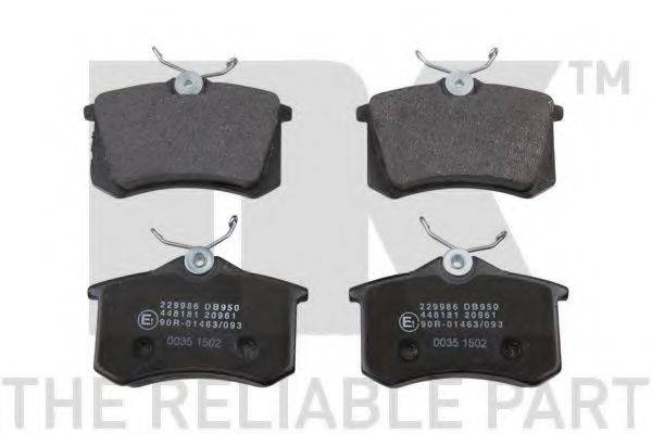 NK 229986 Комплект тормозных колодок, дисковый тормоз