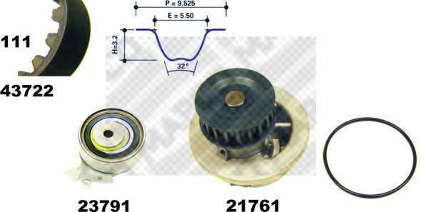 MAPCO 41722 Водяной насос + комплект зубчатого ремня