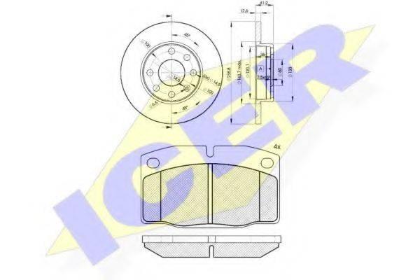 ICER 304541240 Комплект тормозов, дисковый тормозной механизм