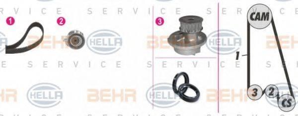 HELLA 8MP376800801 Водяной насос + комплект зубчатого ремня
