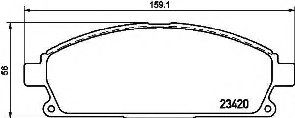 HELLA 8DB355021651 Комплект тормозных колодок, дисковый тормоз