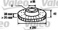 VALEO 186728 Тормозной диск