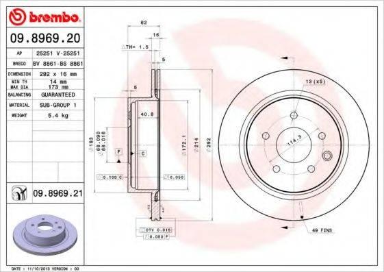 BRECO BV8861 Тормозной диск