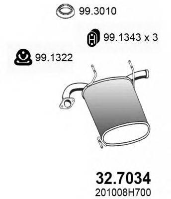 ASSO 327034 Глушитель выхлопных газов конечный