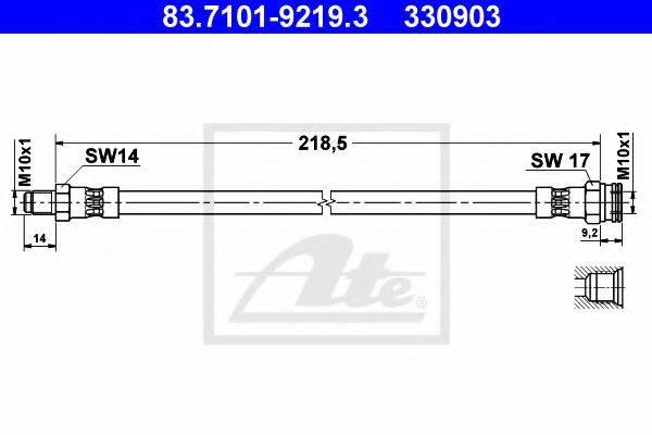 ATE 330903 Тормозной шланг