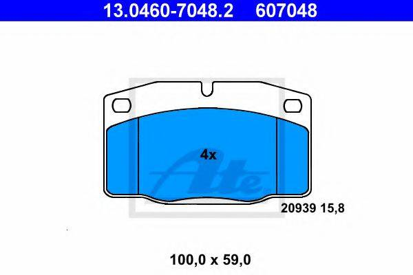 ATE 13046070482 Комплект тормозных колодок, дисковый тормоз