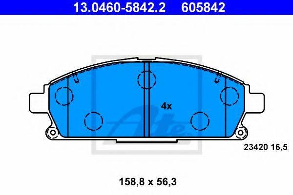 ATE 13046058422 Комплект тормозных колодок, дисковый тормоз