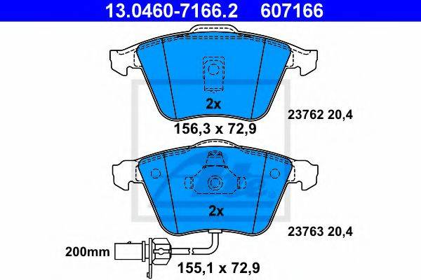 ATE 13046071662 Комплект тормозных колодок, дисковый тормоз