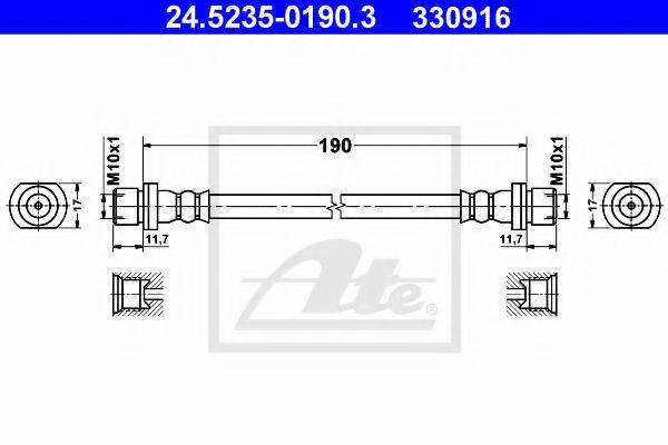 ATE 330916 Тормозной шланг