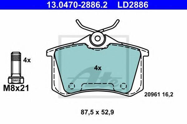 ATE 13047028862 Комплект тормозных колодок, дисковый тормоз