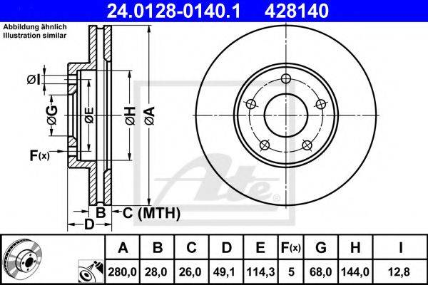 ATE 24012801401 Тормозной диск