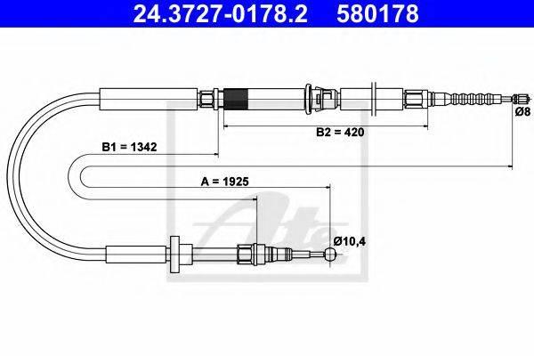 ATE 24372701782 Трос, стояночная тормозная система