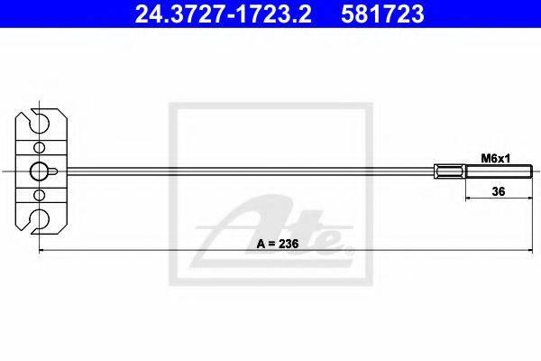ATE 24372717232 Трос, стояночная тормозная система