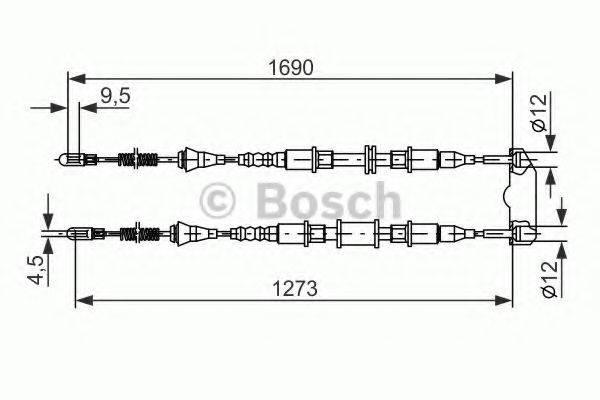 BOSCH 1987477129 Трос, стояночная тормозная система