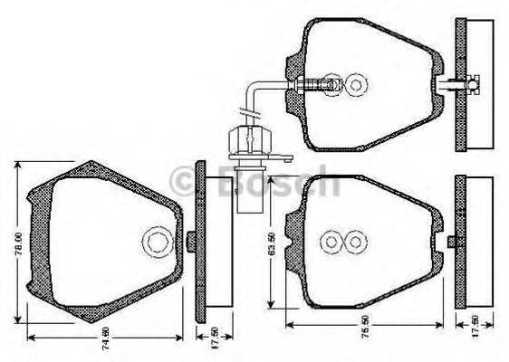 BOSCH 0986TB2808 Комплект тормозных колодок, дисковый тормоз