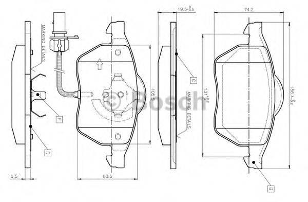 BOSCH 0986TB2018 Комплект тормозных колодок, дисковый тормоз