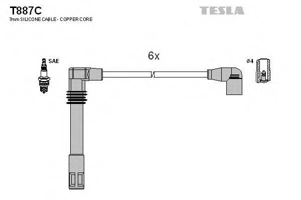 TESLA T887C Комплект проводов зажигания