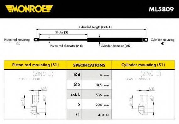 MONROE ML5809 Газовая пружина, крышка багажник