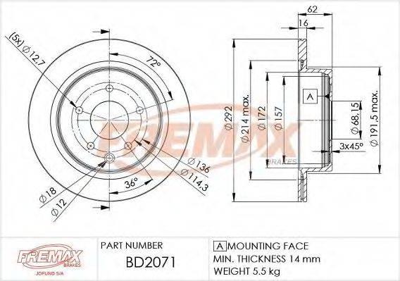 FREMAX BD2071 Тормозной диск
