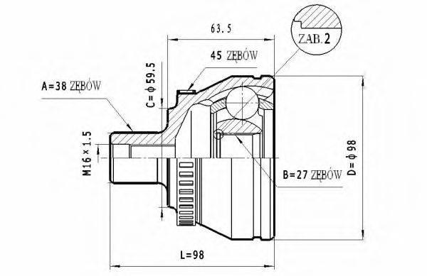 STATIM C296 Шарнирный комплект, приводной вал