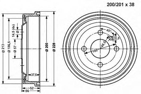 VEMA 800827 Тормозной барабан