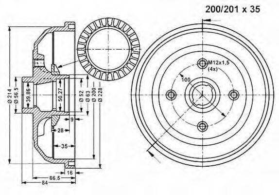 VEMA 801169 Тормозной барабан