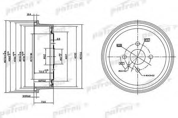 PATRON PDR1122 Тормозной барабан
