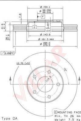 VILLAR 6281290 Тормозной диск