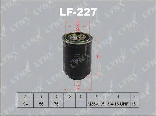 LYNXAUTO LF227 Топливный фильтр