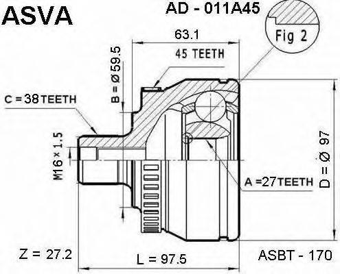 ASVA AD011A45 Шарнирный комплект, приводной вал