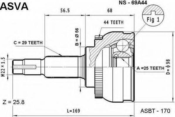 ASVA NS69A44 Шарнирный комплект, приводной вал