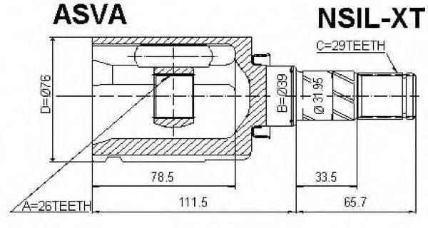 ASVA NSILXT Шарнирный комплект, приводной вал