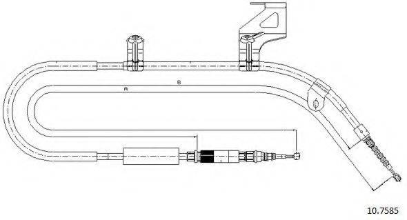 CABOR 107585 Трос, стояночная тормозная система