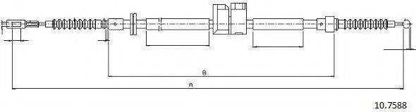 CABOR 107588 Трос, стояночная тормозная система