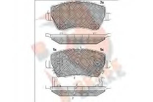 R BRAKE RB2019 Комплект тормозных колодок, дисковый тормоз
