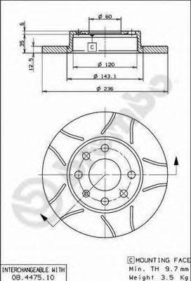 BREMBO 08447575 Тормозной диск
