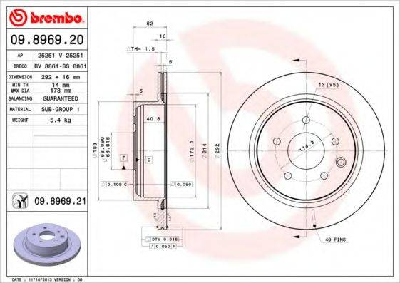 BREMBO 09896921 Тормозной диск