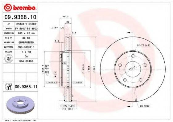 BREMBO 09936811 Тормозной диск