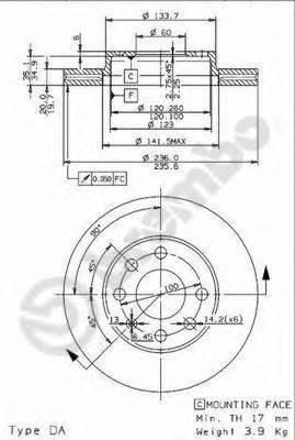 BREMBO 09960714 Тормозной диск