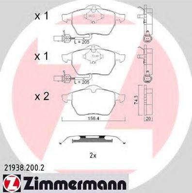 ZIMMERMANN 219382002 Комплект тормозных колодок, дисковый тормоз