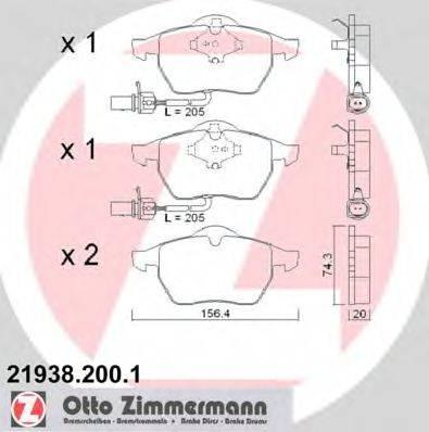 ZIMMERMANN 219382001 Комплект тормозных колодок, дисковый тормоз