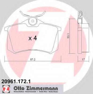 ZIMMERMANN 209611721 Комплект тормозных колодок, дисковый тормоз