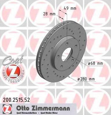 ZIMMERMANN 200251552 Тормозной диск