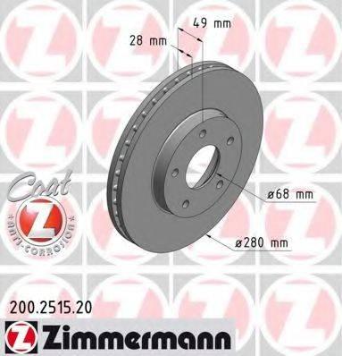 ZIMMERMANN 200251520 Тормозной диск